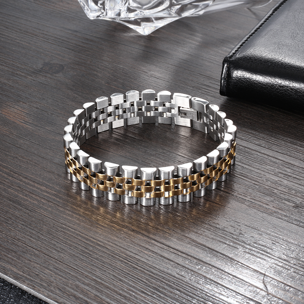 Luxury Gold Color Stainless Steel Bracelet 200mm Wristband Men Jewelry Bracelets Bangles Gift for Him (JewelOra BA101608)