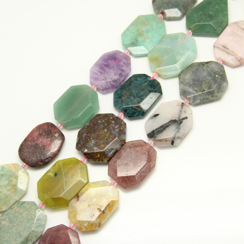 Approx 9pcs full strand Natural Stones Faceted Octagon Shape Spacer Charms Bracelet,Cut Slab Slice Gems Craft Necklace Jewelry