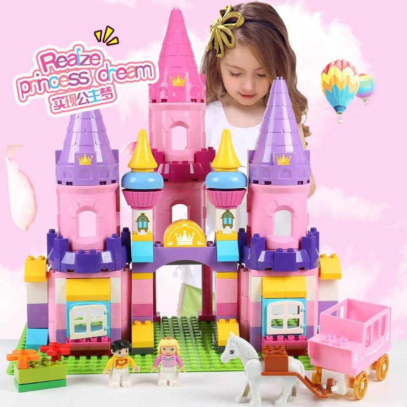 Девочки Принцесса замок большой размер строительные блоки наборы игрушки для девочек совместимые LegoING Duplo лошадь друзья фигурки кубики для ...