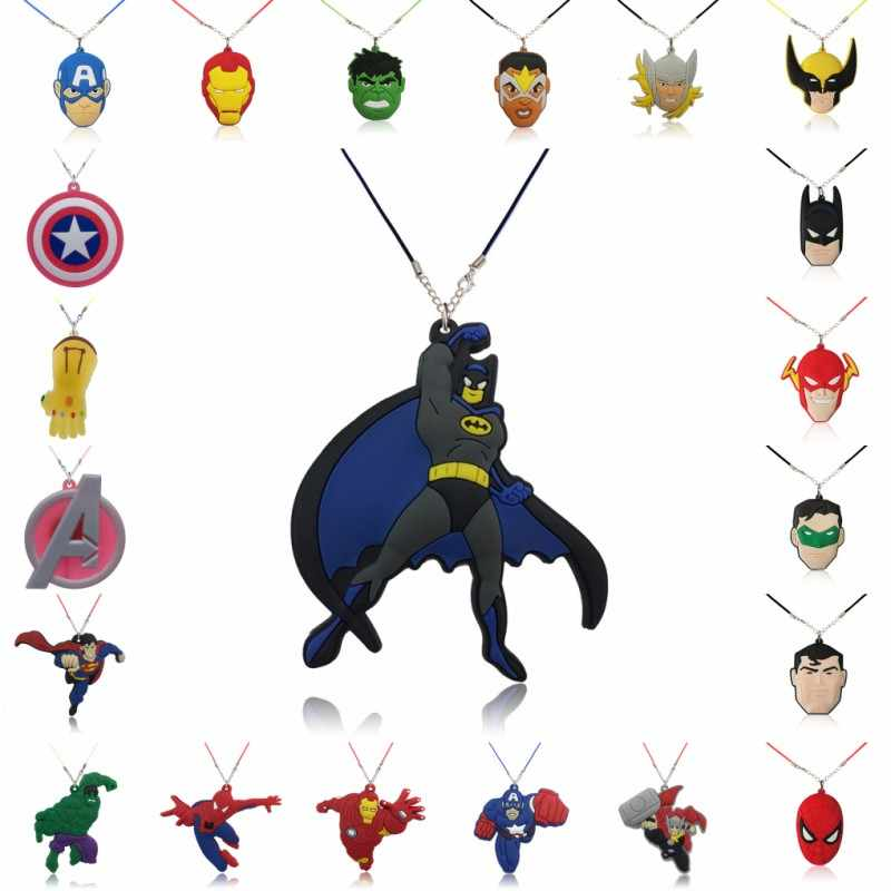 1PCS PVC Necklace Cartoon Figure Marvel Avenger Rope Chain Pendant Cute Minnie Charms Choker Necklace Kid Party Fashion Jewelry