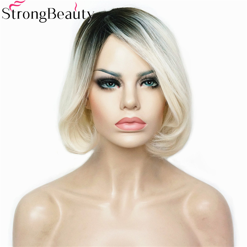 StrongBeauty Short Straight Synthetic Bob Wigs Heat Resistant Dark to Blonde Ombre Wig Full Capless Women