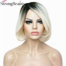 StrongBeauty короткий прямий синтетичний Боб пари теплостійкий темно блондинка Ombre парик повного Capless жіночі волосся