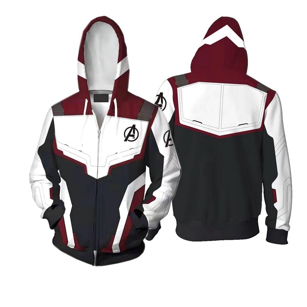 Avengers 4 Endgame Quantum Realm Cosplay Costume Hoodies Men Women Hooded Sweatshirt Sweater Zip Up Jacket Coats 3D Print S-5XL