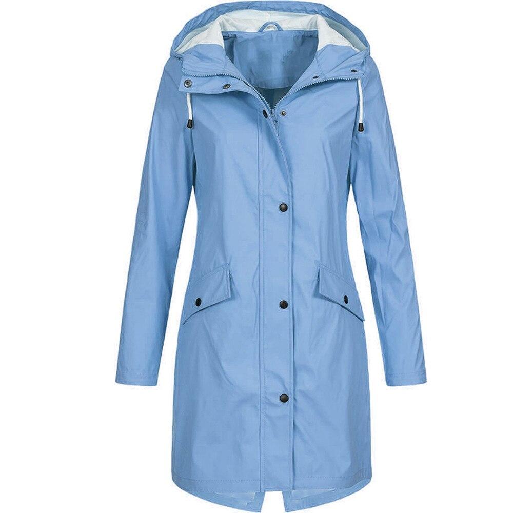 KLV Women's Solid Rain Jacket Outdoor Hoodie Waterproof Long Coat Overcoat Windproof Large size long warm hooded jacket 2019 4.2