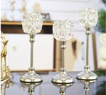 European candlestick table luxurious candlelight dinner props crystal metal American model room soft decoration