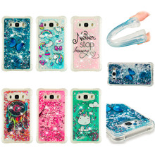 LUCKBUY For Samsung Galaxy J1 J5 J7 2016 Case Luxury Dynamic Glitter Liquid Soft Phone Silicon Transparent Back Cover