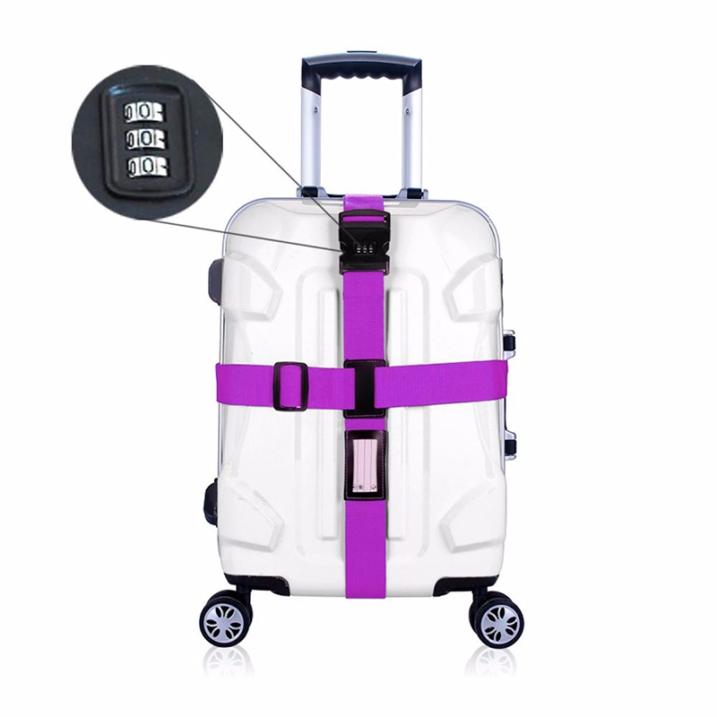 Cross Luggage Strap Belt Secure for Travel Suitcase Baggage with Lock Adjustable