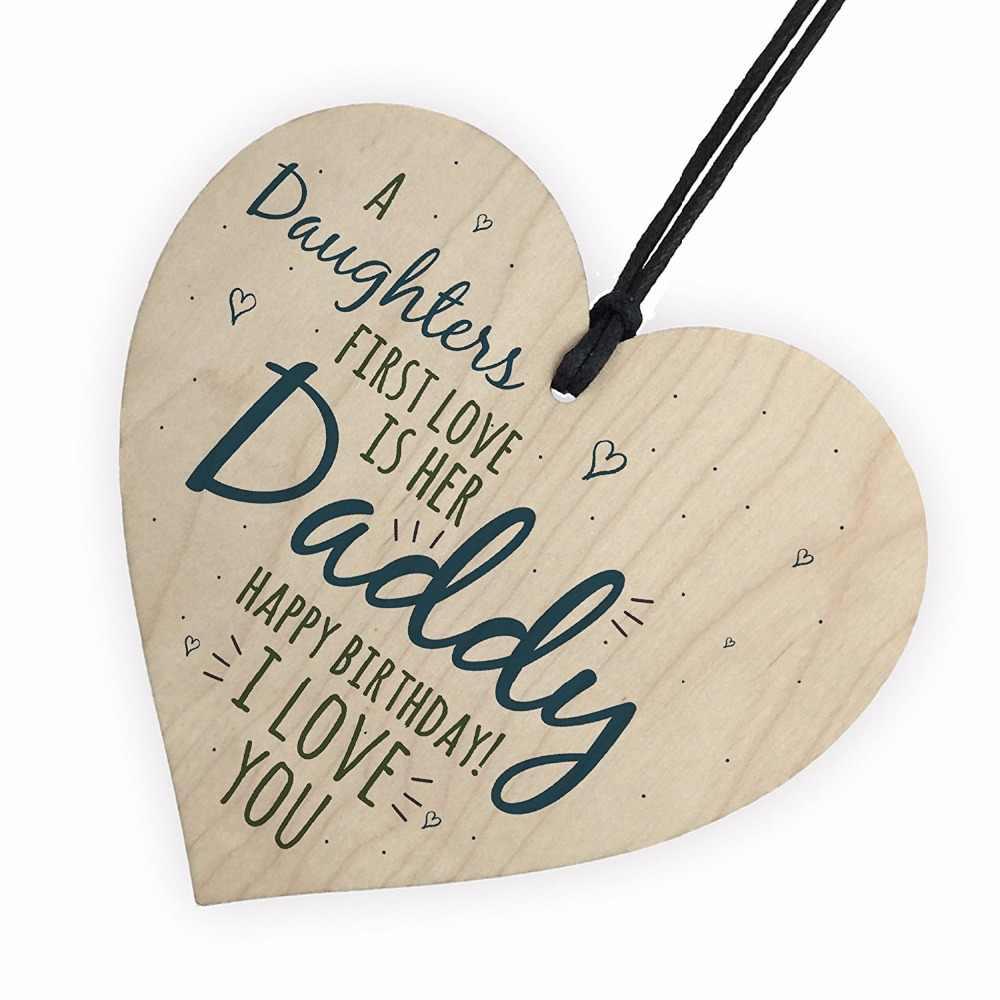 אהבה ראשונה אבא אבא עץ לב שמח יום הולדת כרטיס סימן בן בת תינוק תודה חג המולד בית DIY עץ קישוטים
