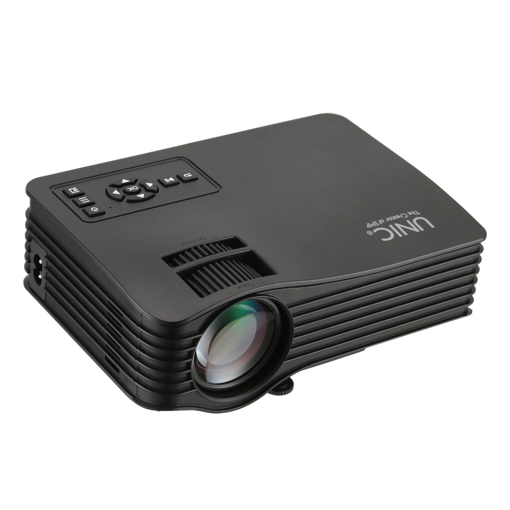1pcs UNIC UC36 Full HD 1080P AU /EU /UK /US  plug Mini Home Theater Multimedia LED Projector USB - black choose