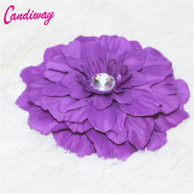 Hot Sale Dark Purple Flower Blooming Fabric Flower Brooch Hair Clip Boutique Headdress Hair Accessories For Bridal Wedding