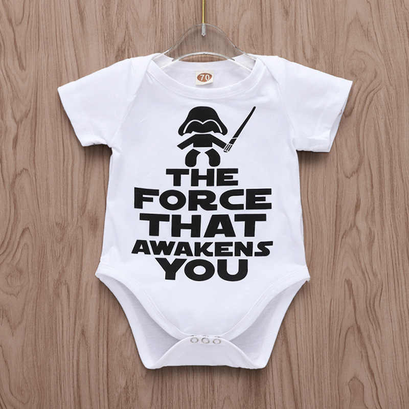 410750fe637ac Funny Newborn Infant Clothes Force Awakens You Letter Print White Short  Sleeves Tiny Cottons Baby Bodysuits Onesie 0-18M Baby