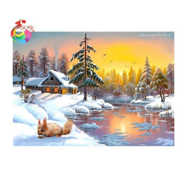 Алмаз вышивка 3d бриллиантового креста стежок поделки вышивка украшение дома горный хрусталь картина алмазов картина мозаика зима снег