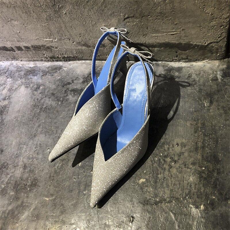 Lentejuelas Plata Silver Dedo De Knsvvli Bling Zapatos Las Pie Mujeres Sexy Bowknot Alto Del Mujer Tacón Puntiagudo Boda AFx5Tw