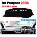 Salpicadero del coche cubre estera para Peugeot 2008 2014-2015 años con volante a la derecha salpicadero tablero pad accesorios de auto de cobertura