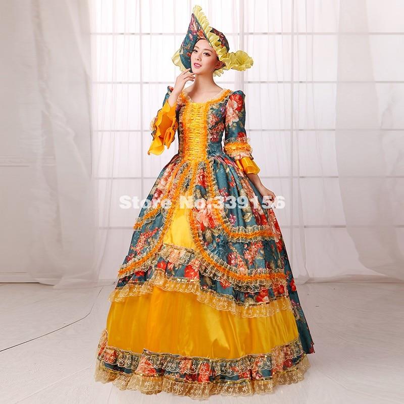 Mode Plus La Taille Or Et Vert Imprimé Marie Antoinette Halloween Costumes Femmes  Gothique Victorienne Southern belle Robe dans Robes de Mode Femme et ... 8f9d0fe4ac1