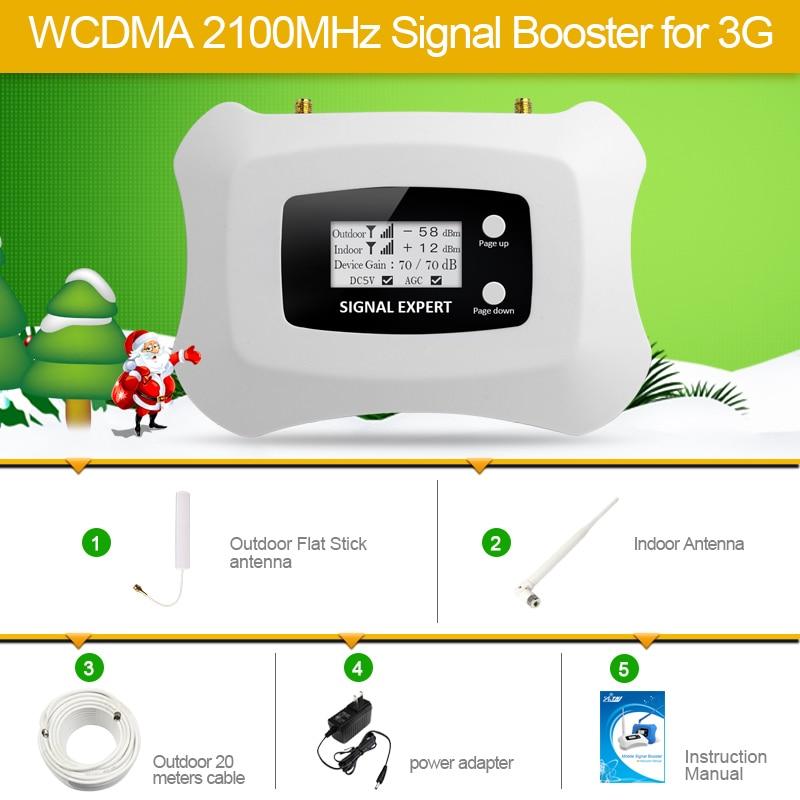 Display LCD! Mini Inteligente 2100 mhz 3g 3g 3g UMTS repetidor celular Amplificador de sinal de celular kit amplificador de potência para 3g