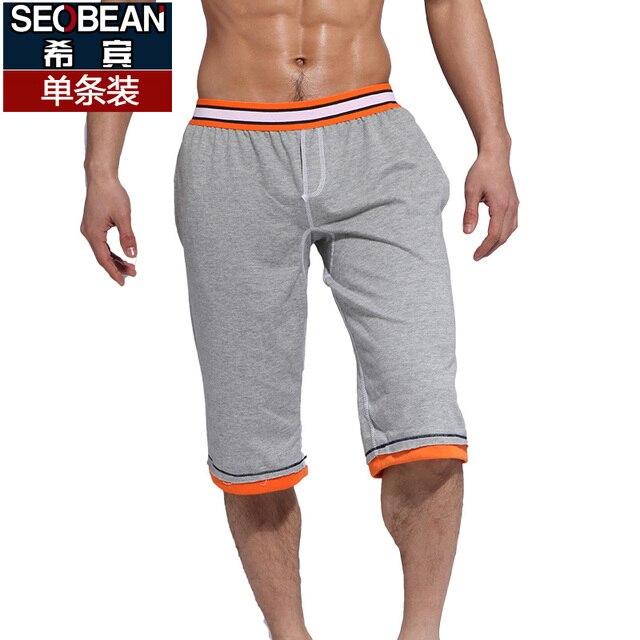 Seobean мужские шорты домой 100% хлопок тонкий длиной до колен случайные шорты
