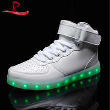 High Top Light up Shoes Flashing LED Hook&Loop Sneakers 7 Colors 11 modes USB charging