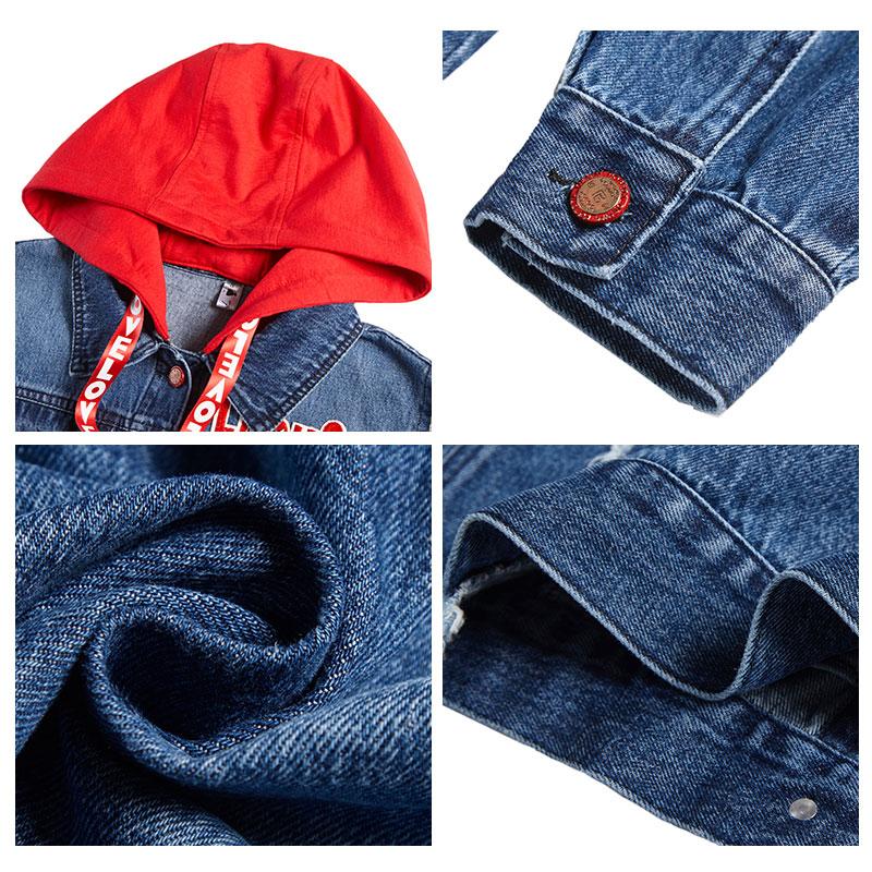 À Femmes Jean Coupe Automne vent Manteau Cowboy Capuche Patchwork Cardigan Outwear En Jeans Lâche Veste RCCrfwIq