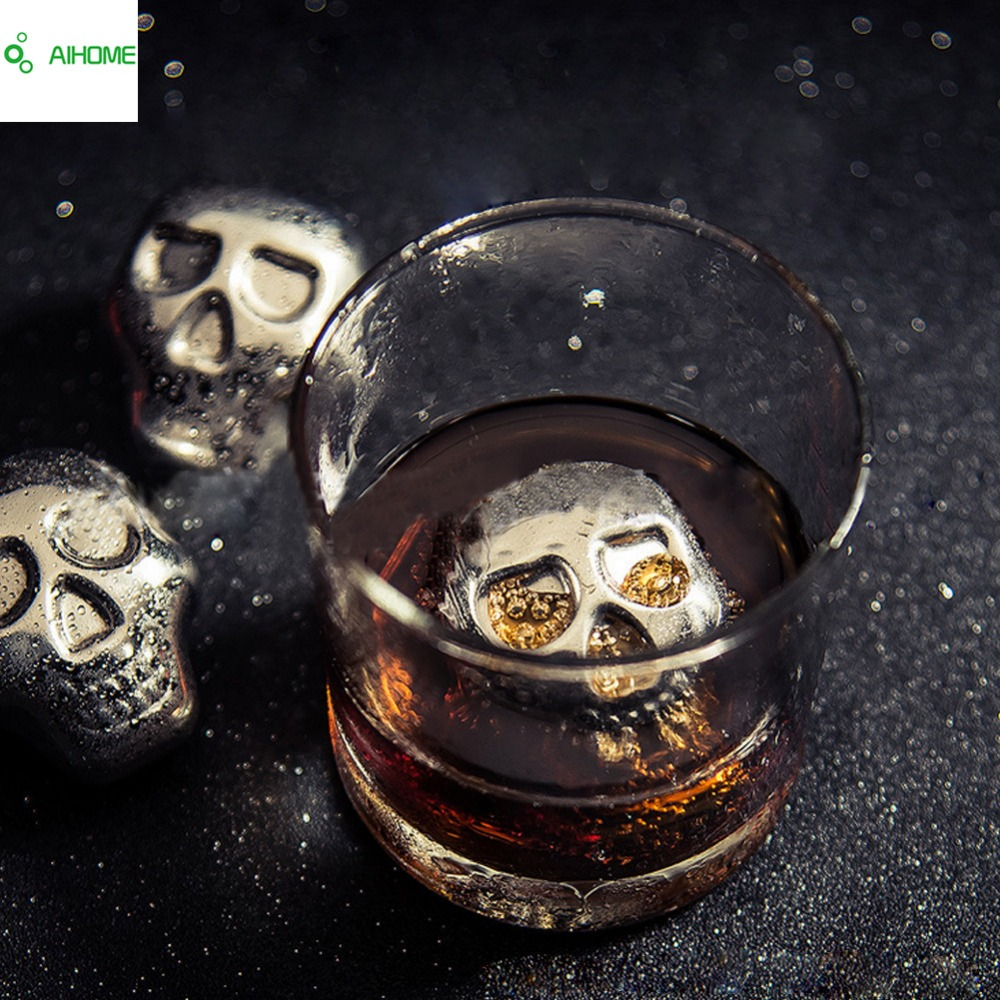 Personality 304 Stainless steel Skull Ice Cubes Whiskey Ice Drink Wiskey wine beer Cooler Appliances for