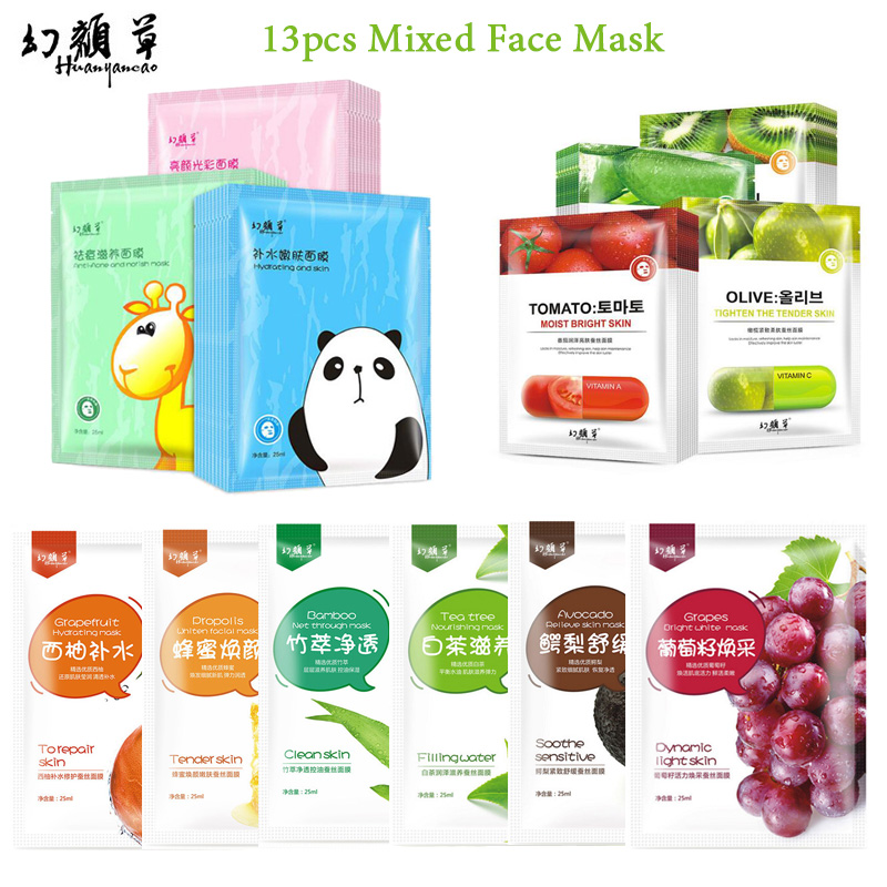 13Pcs Mixed HuanYanCao Facial Mask Cartoon & Plant Fruit Face Mask Deep Moisture Nourish Beauty Skin Essential Face Care
