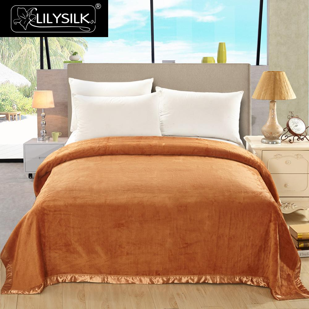 Lilysilk Silk Blanket 100% Grade A Pure Mulberry Beauty <font><b>Skin</b></font> Care Yellow/Pink/Orange Free shipping