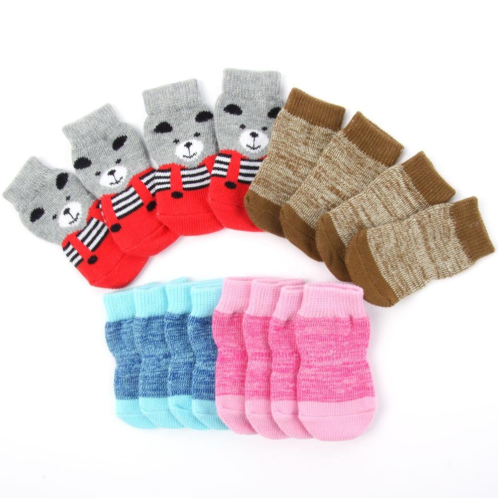 Pet Dog Puppy Warm Knit Cozy Indoor Anti Slip Dog Boots Socks 4 Sizes Hot Sale