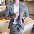 Весной и летом мужской моды мода полосой половины рукав костюм тонкий полоса половины рукав костюм x72-p130