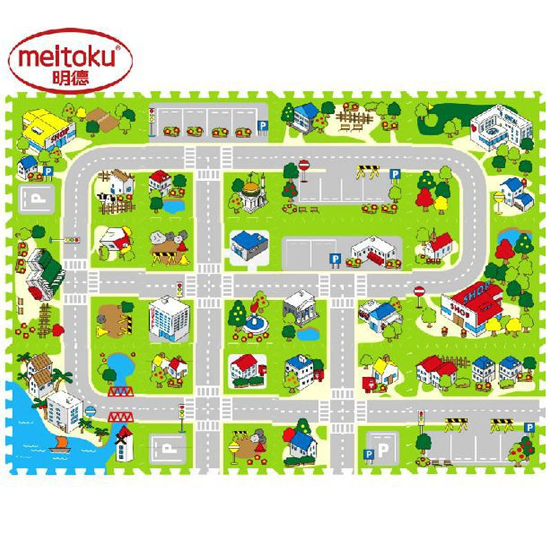 12pcs3bag free combination baby city road brain building eva foam play puzzle mats