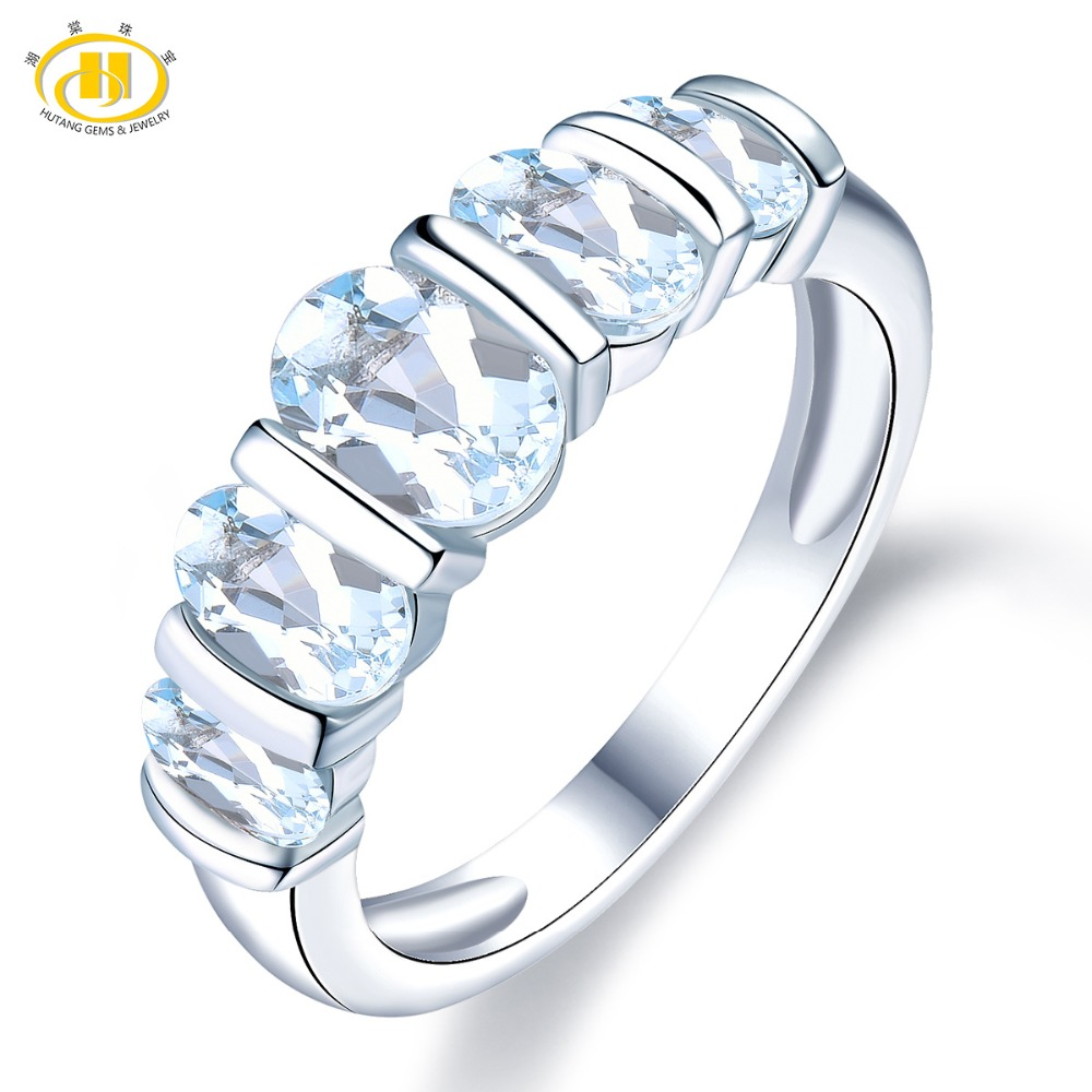 Hutang Engagement Rings Natural Gemstone Aquamarine 925 Sterling Silver Ring Stone Fine Wedding Jewelry for Women