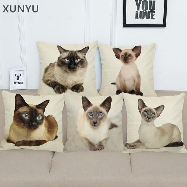 Xunyu 샴 고양이 패턴 린 넨 베개 케이스 소파 광장 장식 베개 커버 동물 쿠션 커버 45x45 cm ac009
