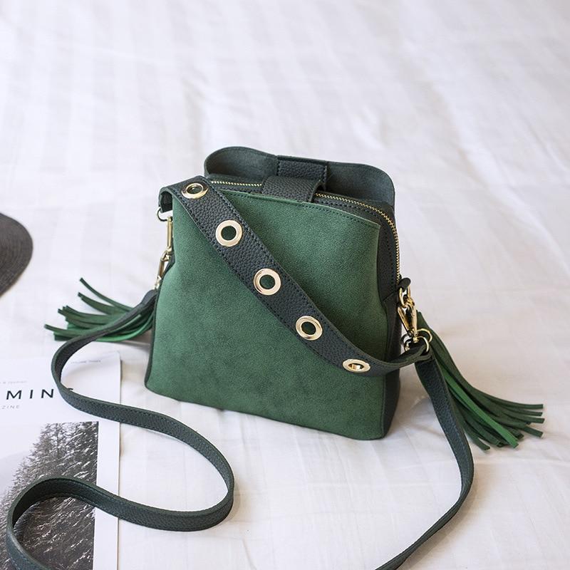 Women Suede Tassel Shoulder Bag Female Vintage Crossbody Bags For Women 2018 Nubuck Bucket Bag Handbags Designer Scrub Daily Sac