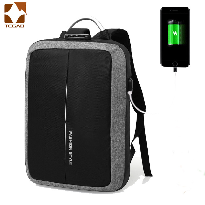 TCGAD New Backpack unisex Anti-thief USB Recharging NO <font><b>Key</b></font> <font><b>TSA</b></font> Lock Design Men woman Business Fashion Message Backpack Travel image