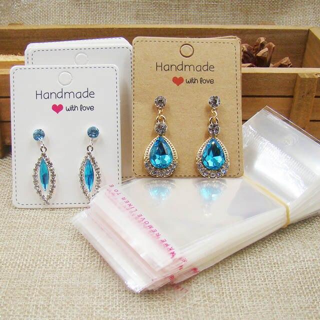 6 5 5cm Jewelry Kraft White Earring Cards Handmade With Love Printed Display Creative 100cards 100 Opp Bag
