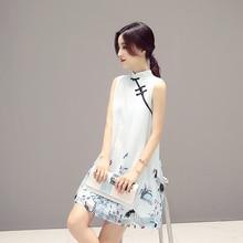 2017 autumn retro chinese traditional women cotton broadcloth knee cheongsam female sleeveless print casual design qipao