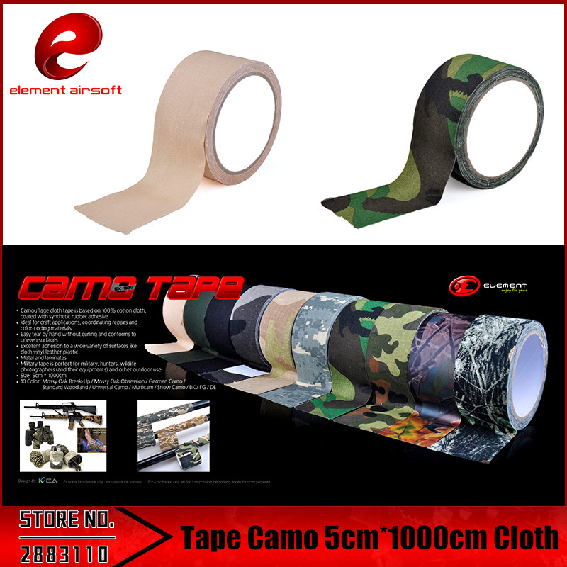 Element 5CMx10M Camo Army Non Woven Cohesive Bandage Self Adhesive Camping Hunting Camouflage Tape  Hunting accessories EX389