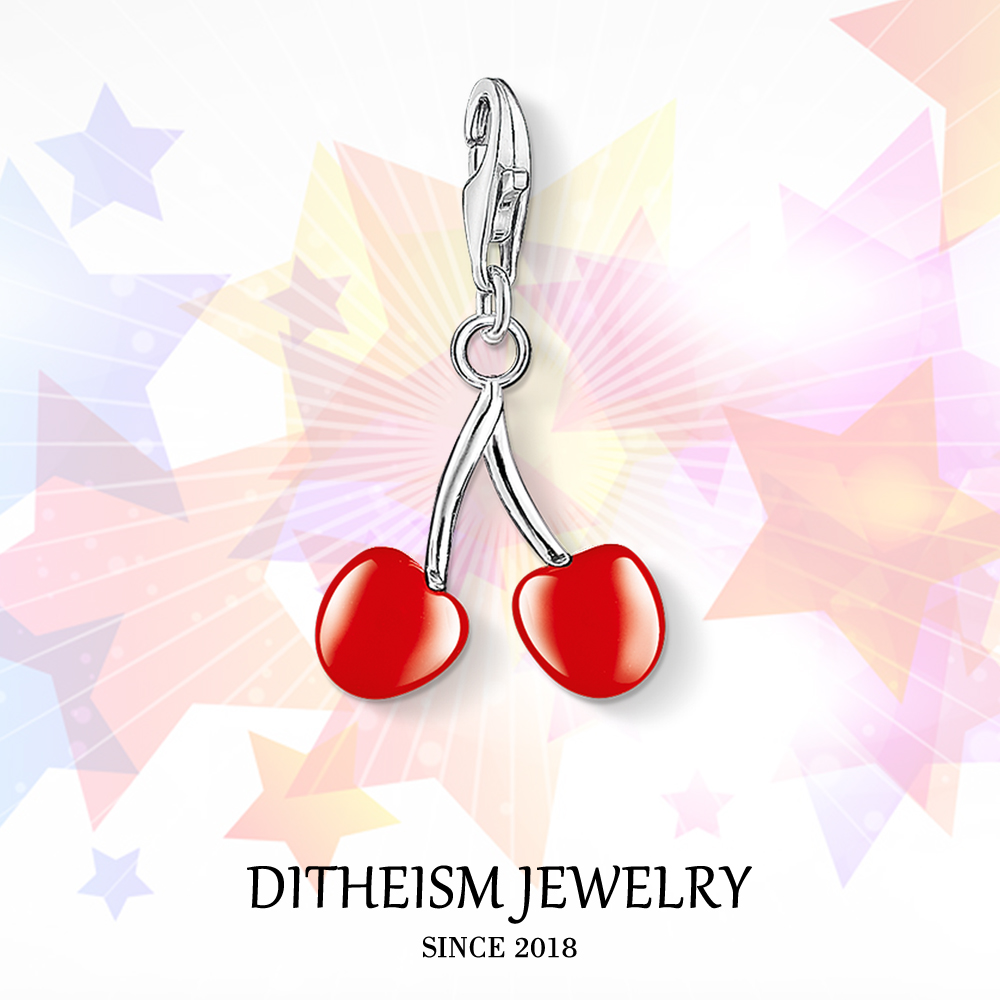 Red Cherry Charms Pendant,2018 Fashion Jewelry 925 Sterling Silver Romantic Gift For Women Girls Fit Bracelet Necklace Bag