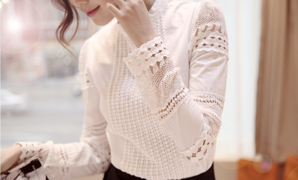 YEYELANA Women Blouses 2018 Spring Summer Long Sleeve Shirt Women White Lace Blouse Camisas Femininas Woman Tops Clothes A002 15