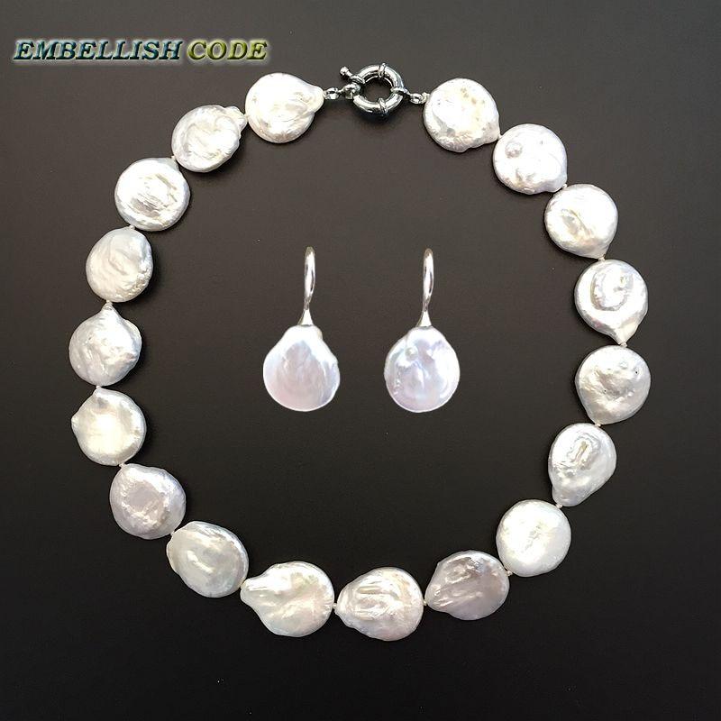 Chaude grande taille baroque perle collier ras du cou bracelet ensemble bijoux fins bouton coin forme naturelle perles d'eau douce couleur blanche