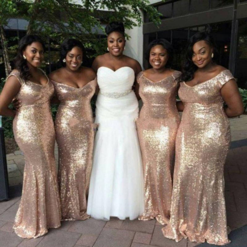 Gold Sequin   Bridesmaid     Dresses   Long Mermaid 2016 New Sexy V Neck Wedding Party Gowns Plus Size Fashion robe demoiselle d'honneur