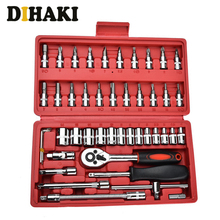 46-Pieces Socket spanner set Combination Ratchet Torque Wrench Set Car Auto Repair Household Hand Tool Kit with Plastic Toolbox стоимость