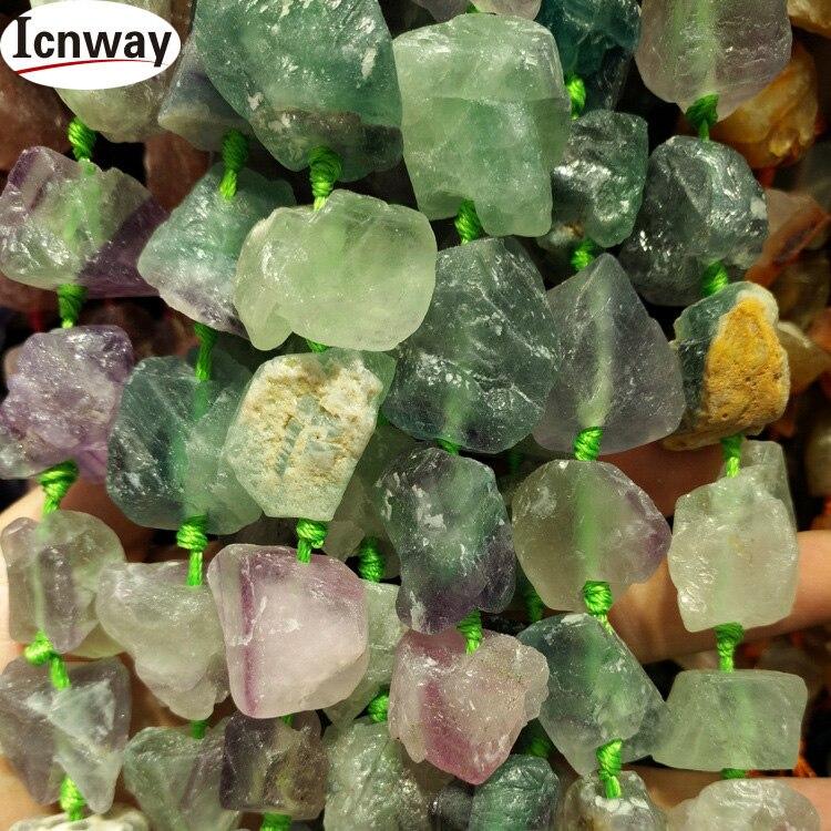 Натуральный Необработанный камень блочный кристалл агат бусины 20-30 мм 15,5 дюйм(ов) DIY Ювелирные изделия изготовление ожерелье опт ICNWAY