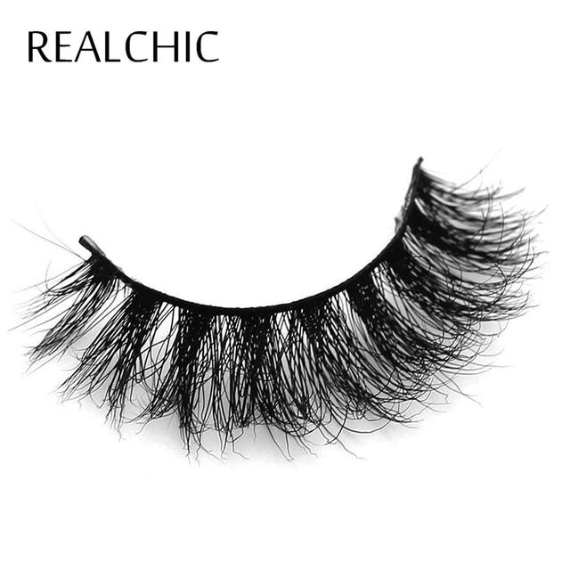 Realchic Mink Lashes 3D Mink pestañas naturales Pestañas pestañas postizas 1 par hechos a mano falsos ojos latigazos extensión para la belleza cosmética