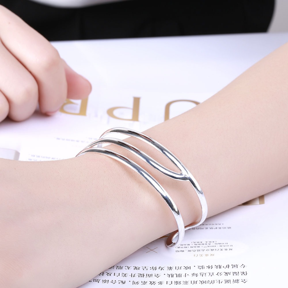 Bracelets & Bangles B046 Fashion Silver Bangles Cool Style Party For Woman Good Quality Top Quality Factory Outlet Bangles