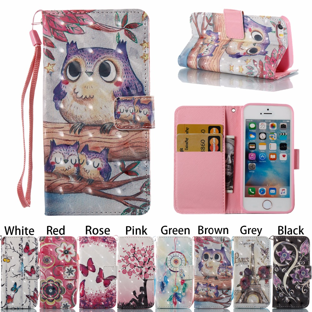 Flower Owl Cute Painting Magnetic Flip PU Leather Wallet Book Stand Anti-knock Shockproof Case for Apple iPhone 7 8 Plus