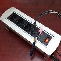 2019 Multifuncional Manual de Rotação De Mesa de Reuniões Do Hotel Tomada de energia DA UE Dual RJ45 USB Virar com Interruptor Plug frete grátis