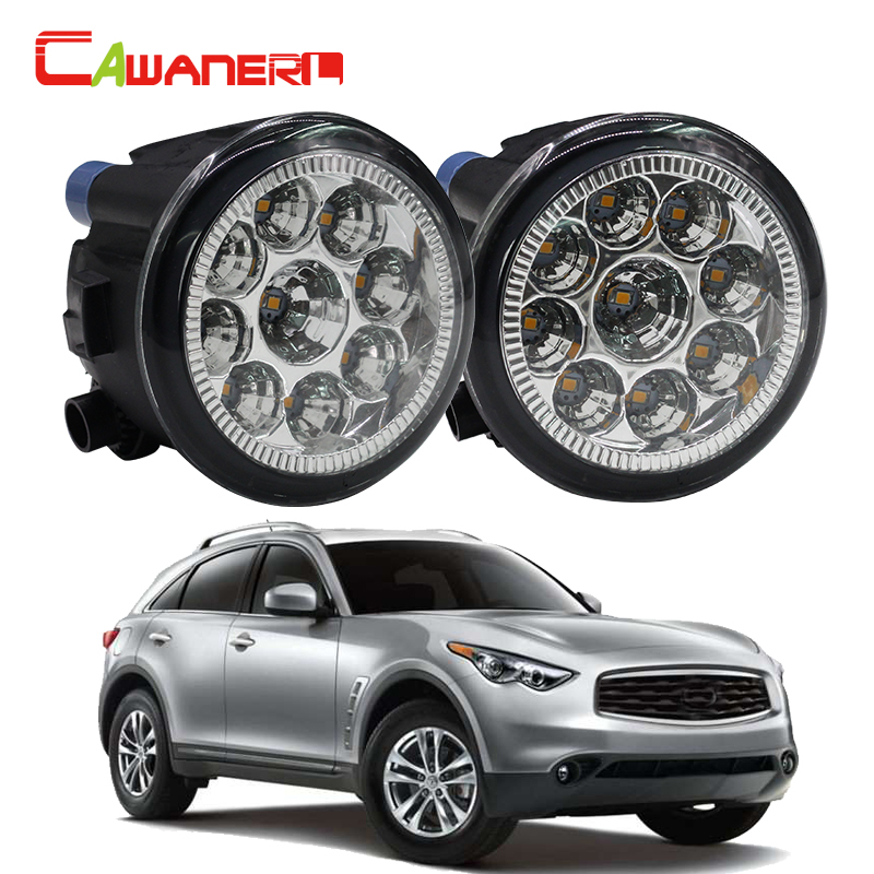 Cawanerl H8 H11 Car LED Light Right + Left Fog Light DRL Daytime Running Light 12V DC 1 Pair For Infiniti FX35 3.5L V6 2006-2012 cawanerl for toyota highlander 2008 2012 car styling left right fog light led drl daytime running lamp white 12v 2 pieces