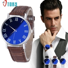 Men Watch OTOKY Willby Men's Fashion Watch Male Casual Blue Dial Faux Leather Business Quartz Wrist Watch 161223 Drop Shipping