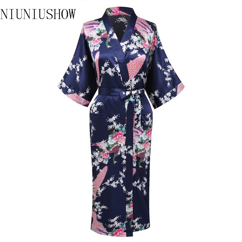Navy Blue Chinese Women Rayon Nightgown Print Kimono Bath Gown Bridesmaid Wedding Robe Plus Size S M L XL XXL XXXL T003