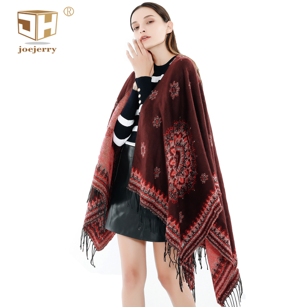 JOEJERRY Russian Indian Shawl Cape Poncho Blanket Oversized Women Cashmere Pashmina Ethnic Print Big Winter Scarf